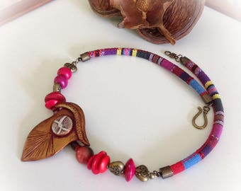 Necklace, ethnic, polymer, antique gold, fuchsia, cotton cord.