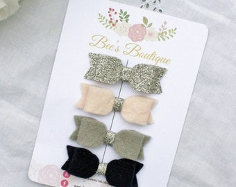 Navy, silver, grey, pink baby bow headband set - Baby Gift - Tiny Bows - Small Bow