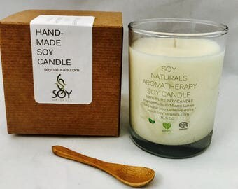 Soy Naturals *Vegan Candle* Aromatherapy Soy Candle Mental Clearing Scented with Eucalyptus. Peppermint &  Rosemary  Essential Oil 10 oz