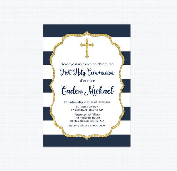 First Communion Invitation Boy Navy Blue First Communion Invitation