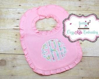 Monogram Bib, Girls Monogram Bib, Applique Bib, Embroidery Bib, Personalized Bib, Baby Shower Gift