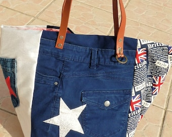 Designer british red/blue/denim patchwork tote bag recycled star Pocket camel leather handles