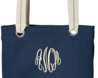 Personalized Cotton Canvas Tote, Embroidered Cotton Canvas Bag, Monogrammed Cotton Canvas Tote Bag