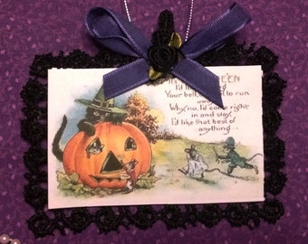 Victorian Halloween Card Tree Ornament or Party Favor - Cat & Mice