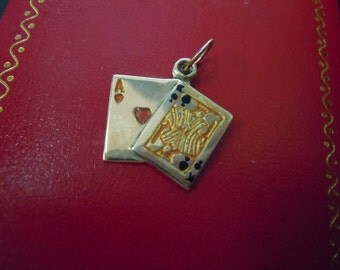 14kt Gold Red and Black Enamel Ace of Hearts and King of Spades Playing Cards Pendant Charm