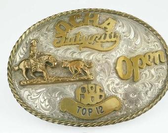 1986 Rodeo Trophy Belt Buckle 2 Tone Engraved Sterling Silver Ocha Futurity Open Top 12 Cowboy Bull Rider