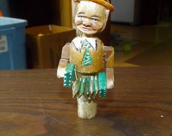 Vintage, Carved Wood, Mechanical, Bottle Cork, Bottle Stopper, Accordion, Wine Accessories, Rustic Decor, Gift for Him, Gift for Her, Rustic