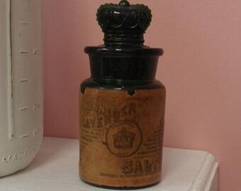 Antique Lavender Salts Green Bottle--The Crown Company London--Rare!