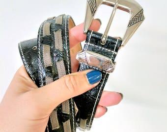 Vintage 90's Captiva Black Leather & Metal Embellished Belt Size Small