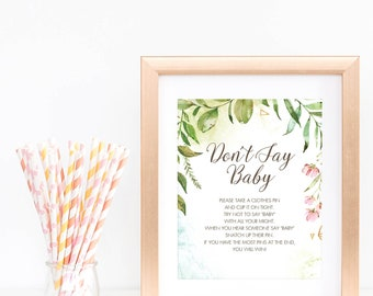 Dont Say Baby Game Sign Woodland Themed Baby Shower Decorations Greenery Baby Party Signs Garden Baby Shower Activity Ideas Download PDF LB2
