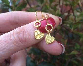 Tiny 24K Gold hammered heart earrings