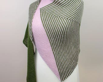 handknit triangle shawl in pink and green, oversize wrap, alpaca silk shawl, asymmetric woolen shawl, gift for her