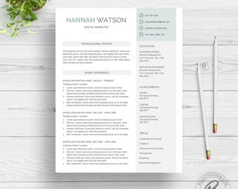 Modern Resume Template for Word | Clean Resume Design | One Page Resume Download | Creative Resume Template | CV Template for Word