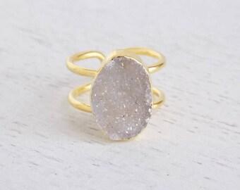Natural Druzy Ring, Raw Druzy Ring, Light Gray Druzy Ring, Crystal Ring, Gemstone Ring, Adjustable Ring Raw Stone Ring Gold Boho Ring R2-137