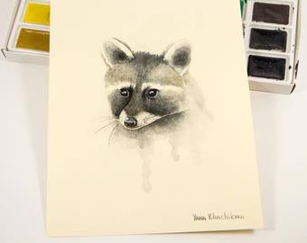 Raccoon Original Watercolor Painting by Yana Khachikyan