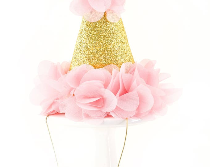 "Mini First Birthday Photoshoot Hat, 5"" Smash Cake Party Hat,  Birthday Crown, Birthday Photo Prop Pink Party Hat Fabric Glitter Hat Gold One"