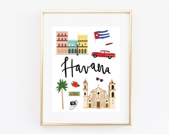 Havana Art Print, Illustrated Havana Decor, Havana Gift, Wall Art
