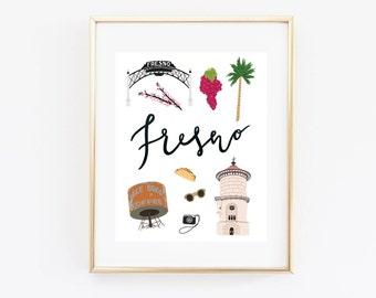 Illustrated Fresno, California Art Print