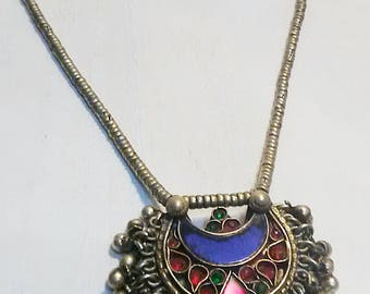 Morrocan Gypsy Bejeweled Necklace, Red and Blue Enamel Inlay, Boho Gypsy Necklace