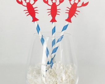 12 Lobster Party Straws - Lobster Boil - Summer - BBQ - Nautical - Seafood Boil - Wedding - Rehearsal Dinner - Baby Shower - Bridal Shower