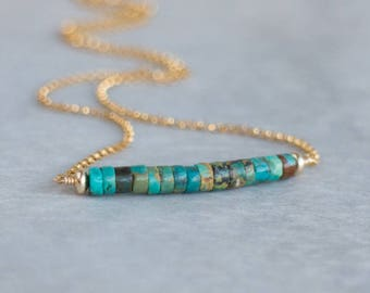 Turquoise Bar Necklace, December Birthstone, Natural Turquoise Jewellery, Birthstone Necklace, Gold or Silver Turquoise Jewelry
