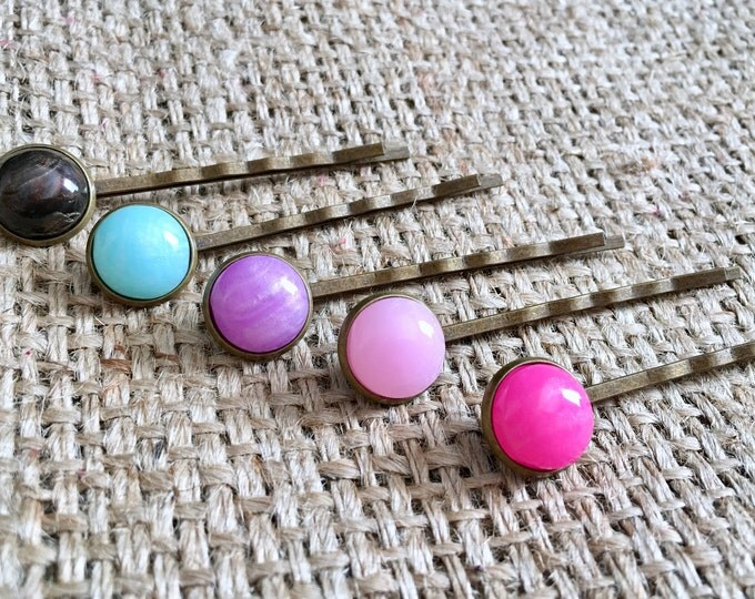 Faux Stone Hair Pin, Gemstone Hair Pin, Stone Hair Pin, Gem Hair Pin, Mermaid Hair Pin, Pastel Hair Pin, Unicorn Hair Pin, Gifts for Her