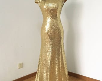 Mermaid Cowl Back Light Gold Sequin Long Bridesmaid Dress