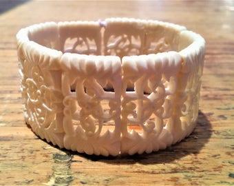 Vintage, Large Carved Bone Bracelet