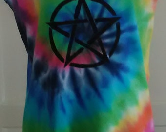 Rainbow, Tie Dye Vest, Tie Dye, Hippy Clothing, Magic, Pentagram, Witch, Wicca, wiccan, Vest Top, Festival Clothing