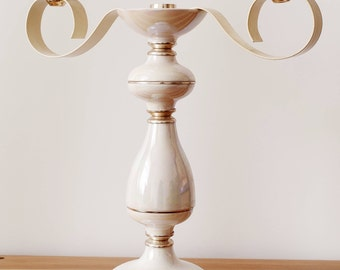 Soviet russian ussr candlestick candelabra mother of pearl imitation three candle christmas christening metal sconce | 6