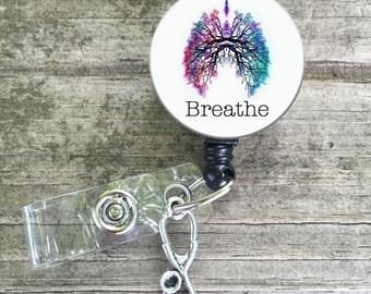 Lungs, Breathe, respiratory, respiratory therapy, respiratory therapist, badge reel button, breathe badge reel, RRT CRT lanyard