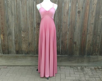 Vintage 70's 80's Disco Dress Maxi Gown Blush Pink Polyester Accordion Pleat Sm