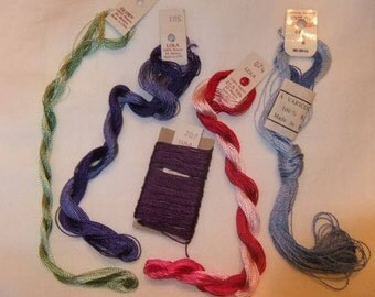Brazilian Embroidery Thread, Estate Find, Edmar Lola and Glory, Varicor, Lot of Five