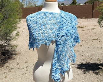 Pale Blues Variegated Cotton Crescent Crocheted Shawl