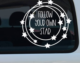 Follow Your Own Star Decal - Star Decal - Star Wreath Decal - Quote Decal - Decal - Car Decal - Vinyl Decal - Window Decal - Stars