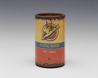 """Porcelain Shot Glass (Energy Shot) """"Flying Bomb"""""""