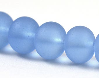 Recycled Cultured Sea Glass Rondelle Beads Matte Light Sapphire Sky Pale Blue 14x11mm