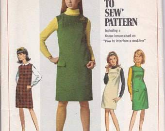 FREE US SHIP Simplicity 7270 Sewing Pattern Vintage Retro 1960s 60s Smock Jumper Miss Junior Petite Sub teen Size 8s 9jp 12s 12 14 Uncut New