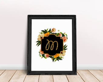 Baby Initial Decor M | Floral Alphabet, Name Letter Poster, Letter Floral Wreath, Floral Wreath Letter, Name Letter Poster