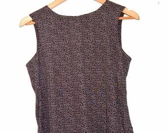 90s vintage brown sleeveless blouse size UK 12 euro 40