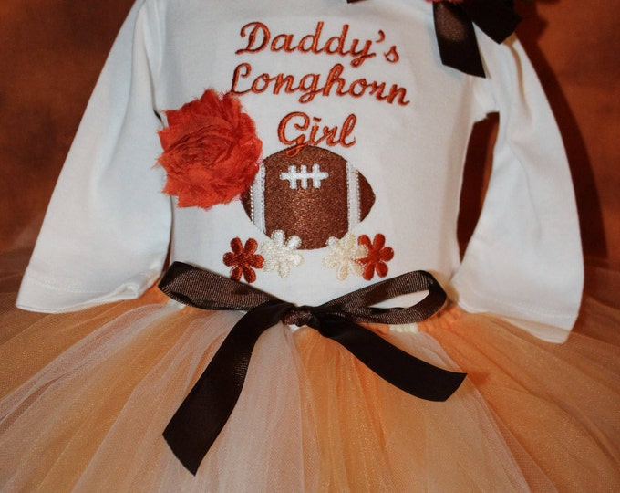 University of Texas,Texas Longhorns, Baby Girl Longhorn outfit, Longhorn bodysuit,Texas girl bodysuit,Burnt Orange and White Tutu,Longhorns
