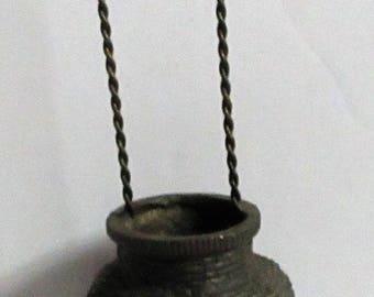 Vintage Chinese Wall Vase Metal Basketweave Hanging Flower Basket Bronze Brass Flower Holder Asian Japanese