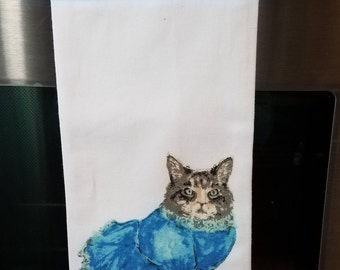 Oven Hanging Towel -- Dressed Up Cat