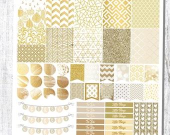 Champagne Gold Sticker Kit, Planner Sticker Kit, Sticker Kit, Planner Stickers, Gold Stickers, Planning Stickers, Planner Accessories