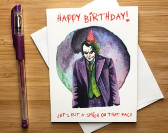 Fun 'Let's put a smile on that face' Birthday Card, Comic Book Birthday, Comic Gifts, Birthday Party Invites, Son Him Birthday Card