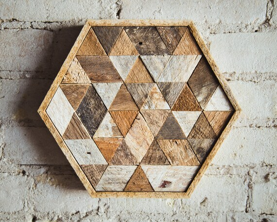 Reclaimed Wood Wall Art, Decor, or Table Tray, Hexagon, Triangle, Geometric, Lath, 11 x 10