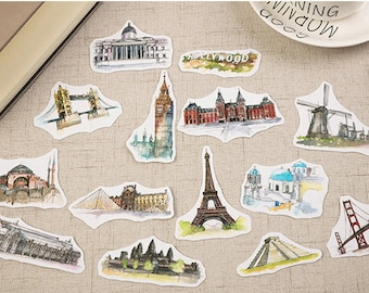 Monuments stickers, planner stickers, scrapbooking stickers, planner 2017