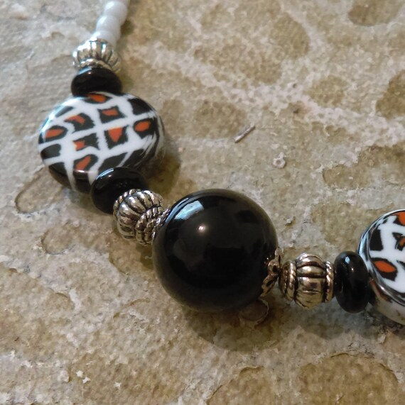 Handmade Beaded Necklace Black Glass Beads Acrylic Pattern Beads White Glass Seed Beads Stainless Chain Tibetan Silver Beads