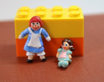 Dollhouse Miniature Hand Painted Dolls: Raggedy Ann Dolly & Sitting Girl Dolly (1/12 and 1/24 Scales)