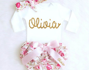 Baby Girl Coming Home Outfit Baby Girl Clothes Personalized Newborn Girl Outfit Spring Floral Bloomers Summer Baby Girl Outfit monogram k1